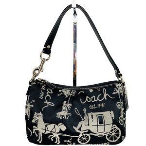 Coach Signature Black and White Fabric Mini Bag